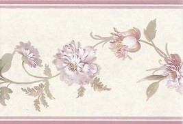 Pink Flower Floral Vine Textured Wallpaper Border Wallcovering  Decor Su... - $9.99