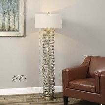 "NEW AMAREY MODERN XXL 65"" FLOOR LAMP AGED LAYERED COIL METAL RINGS UTTER... - $668.80"