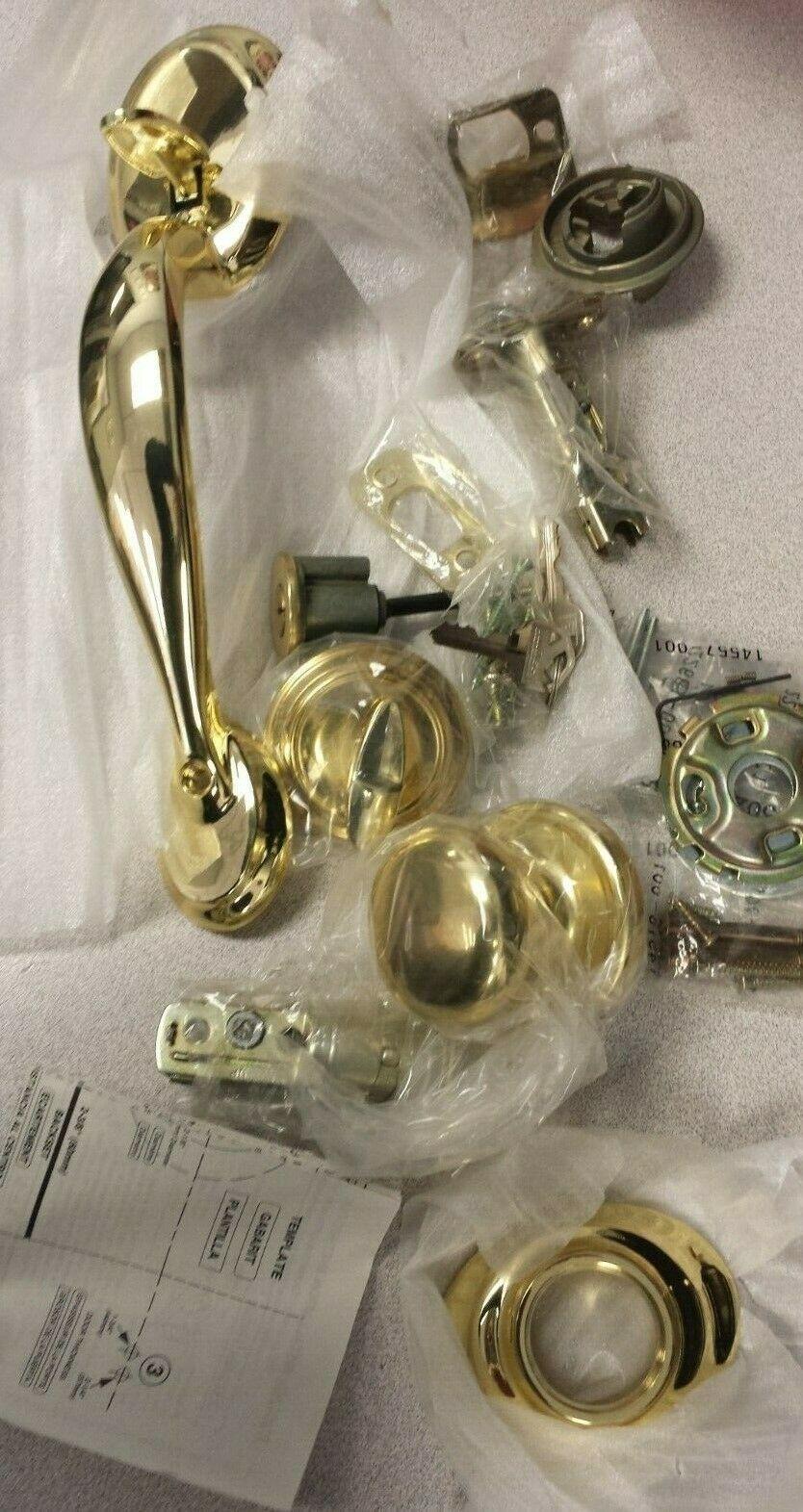 Kwikset 687 Dakota Handleset with Hancock Interior Knob Us3  Polished brass New - $127.71