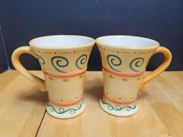 LOT of TWO (2) Pfaltzgraff Villa Della Luna Pedestal Mugs Yellow Blue Sw... - $13.81