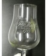 J&F Martell Cognac Liquor Glass Stemmed Bell Shaped Upper Fondee En 1715 - $8.99
