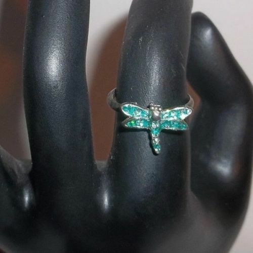 Primary image for Vintage Petite Dragonfly Ring - Size 6 - with Green Silver Confetti Sparkles!