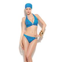 NWT GOTTEX designer swimsuit bikini halter 12 Israel aqua purple sexy 2 PC - $80.50