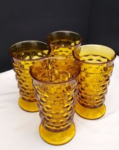 """Set of 4 Indiana Whitehall Colony Cubist Cube Amber 6"""" Iced Tea Footed T... - $19.95"""