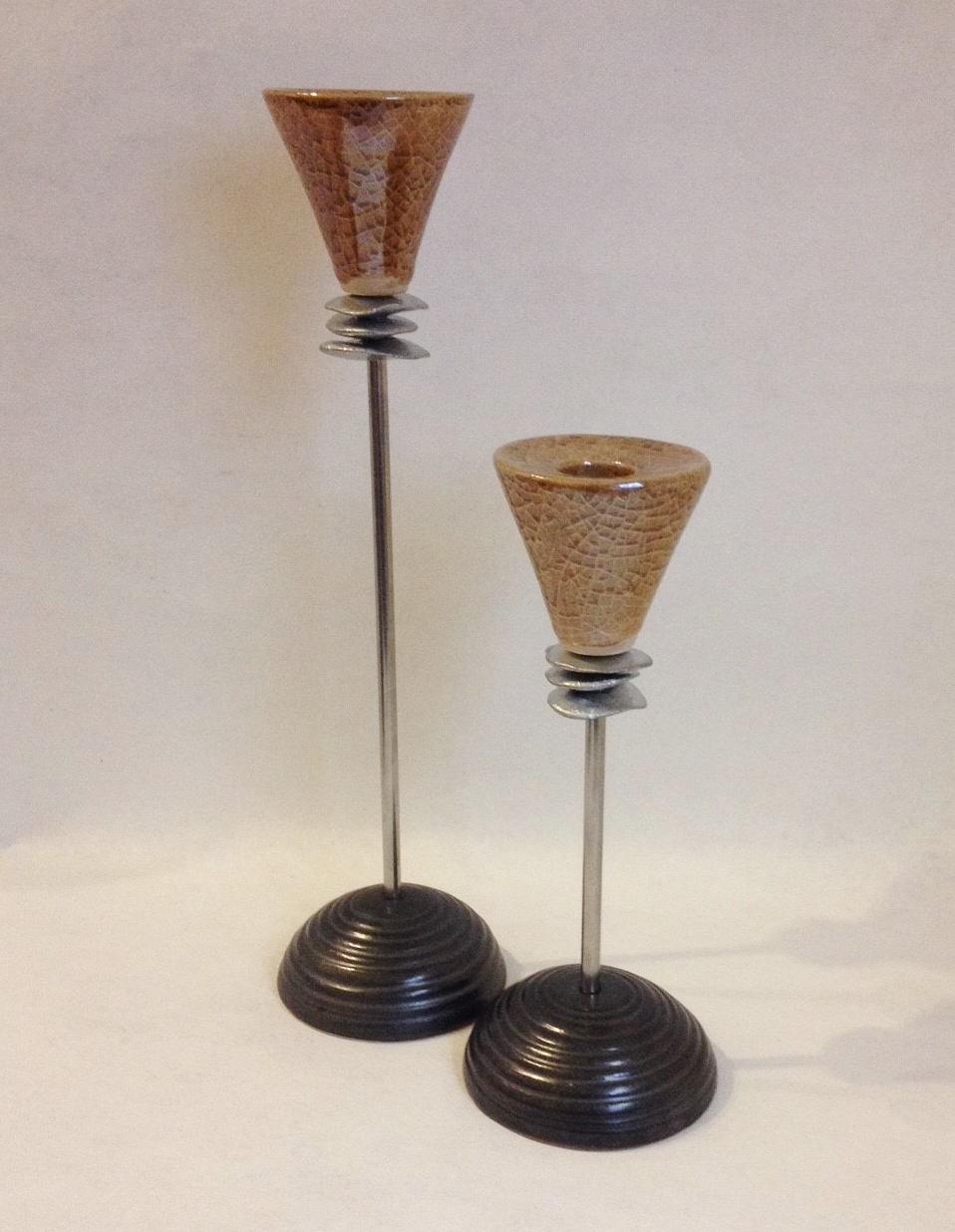 Primary image for Amber Ceramic Candle Holder Taper Candlestick Gold Crackle Stainless Steel Pair