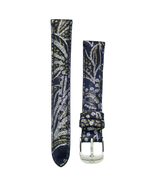 Michele 16mm Blue Paisley Patent Leather Strap MS16AA350409 Deco 16 Lilou - $62.10