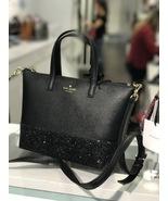 NWT Kate Spade Greta Court Ina Dusty Peoni Black Glitter Crossbody Bag W... - $104.99