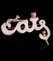 Large sterling Cats Brooch - signed meow Kitty - Sterling silver - Whims... - $95.00