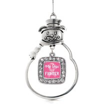 Inspired Silver My Gigi is a Fighter Breast Cancer Awareness Classic Snowman Hol - $14.69