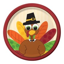 "Turkey Fun Thanksgiving 8 ct 7"" Dessert Cake Plates Fall Party - £3.17 GBP"