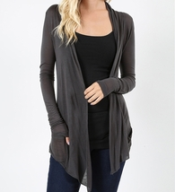 Gray Open Front Flyaway Cardigan, Lightweight Rayon Layering Sweater