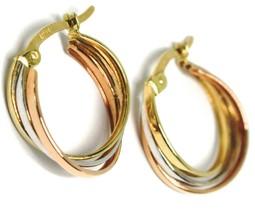 Ohrringe Kreis Weißgold, Pink, Gelb 750 18k,Gewebt Quadrate,1.5 Cm - $190.20
