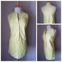 Ann Taylor LOFT Women's Yellow Eyelet Sleeveless Cotton Sun Dress Jumper 4 - $27.66