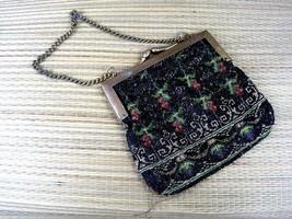 "Victorian Edwardian Glass beaded ""gold"" tone vintage purse evening bag p... - $24.49"