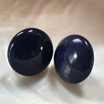 Estate Navy Blue Round Ceramic Button Post Earrings for Pierced Ears – 7... - $8.59