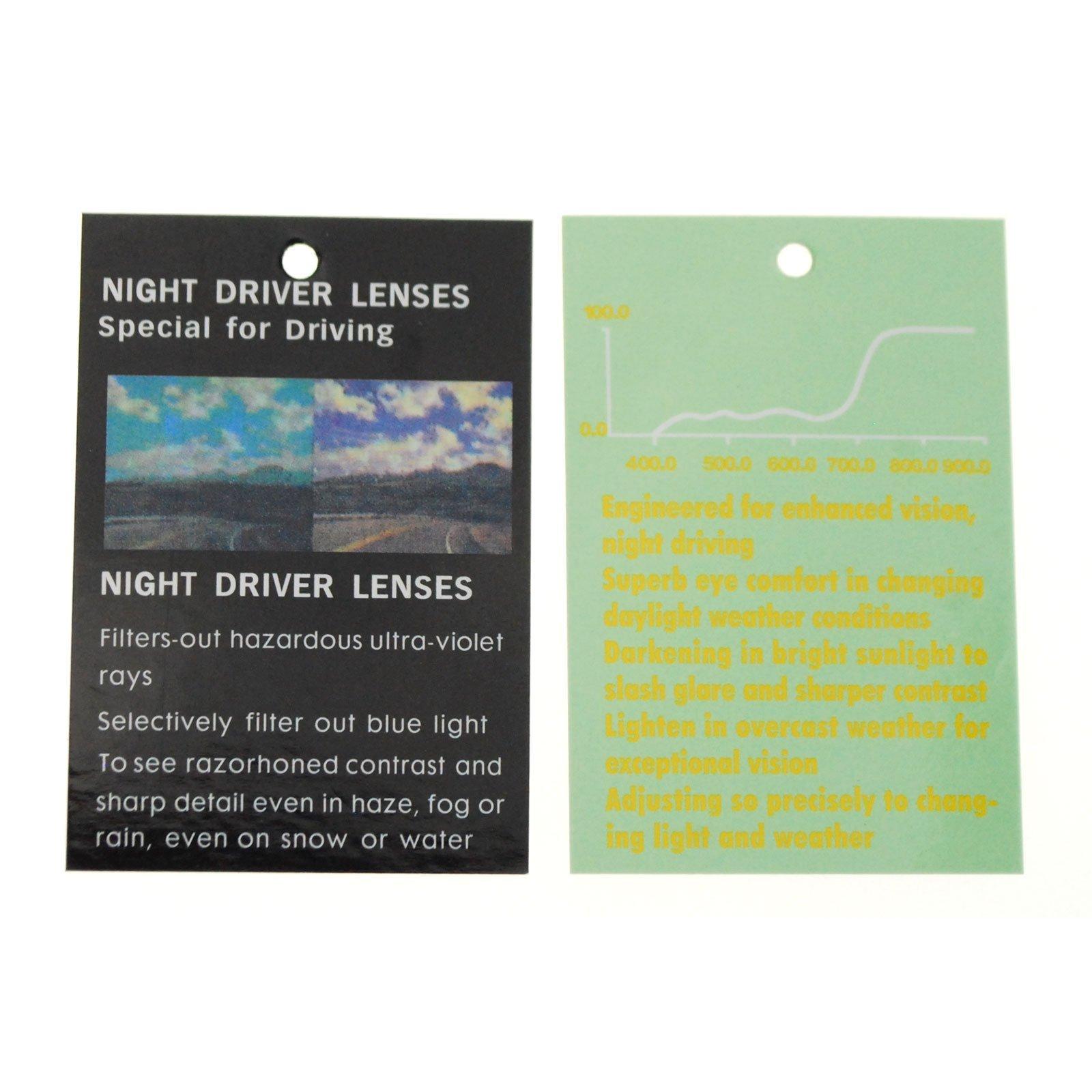 Unisex Retro 44mm x 60mm Clip On Night Driving Yellow Lens Sunglasses Black