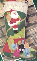 Vintage Jeweled Heres Santa Kids Christmas Eve Felt Stocking Kit Bucilla... - $49.95
