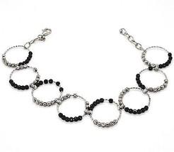 925 Sterling Silver Officina Bernardi Diamond Cut Balls Bracelet Multi Circles - $165.33