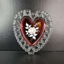 Vintage Westmoreland Glass Heart Plate Reticulated Hand Painted Clear Flash Red - $34.99