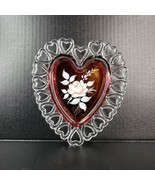 Vintage Westmoreland Glass Heart Plate Reticulated Hand Painted Clear Fl... - $34.99