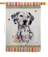 Dalmatian Happiness - Impressions Decorative House Flag H110172-BO - $40.97
