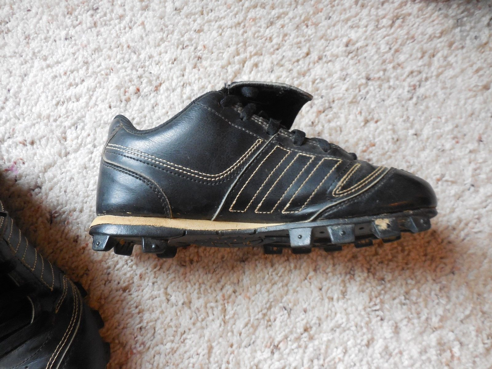 ece09ceb48d Adidas cleats size 2 youth Black with white stripes Softball baseball  soccer etc