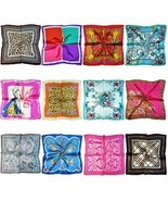 LilMents 12 Mixed Designs Small Square Satin Womens Neck Head Scarf Scar... - $35.41
