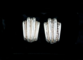Vintage 70s Retro Sterling Silver Clamshell Clip On Earrings W/14K  Gold... - $71.99