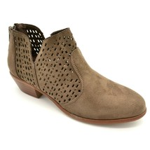 Wild Diva Womens Manny Ankle Boot Size 5.5M Taupe Gray Perforated Back Z... - $29.69