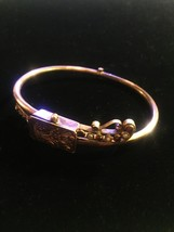Antique Victorian Suffragette hinged bangle bracelet with seed pearl and garnet image 2