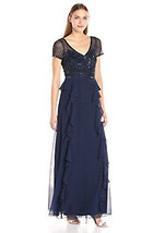 Adrianna Papell Women's Short Sleeve Gown with Beaded Bodice and Ruffle ... - $59.39+