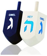 Let's Play Dreidel The Hanukkah Game 2 Extra Large Blue & White Wood Dre... - $15.92