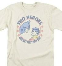Bat Man Robin 2 Heroes T-shirt retro 80s comic book cartoon DC tan tee DCO646 image 1