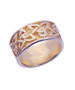 SALE Celtic Knot 24K Gold Plated over real Sterling Silver Ring Wicca Pa... - $29.50