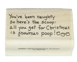 Juggling Snowman and Snowman Poop Sentiment Rubber Stamp Mounted on Wood image 2