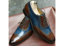 Handmade Men's Brown and Blue Leather Wing Tip Dress/Formal Oxford Shoes image 3