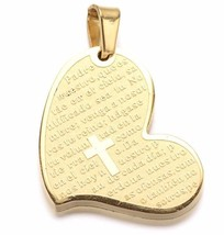 Gold Stainless Steel Heart Prayer Padre Nuestro Cross Pendant s17 - $4.94