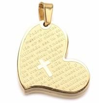 Gold Stainless Steel Heart Prayer Padre Nuestro Cross Pendant s17 - $4.94