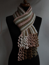 Womens Multicolour Scarf with spiral crochet fringe, merino wool, Neck w... - €35,86 EUR