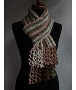 Womens Multicolour Scarf with spiral crochet fringe, merino wool, Neck w... - $39.00