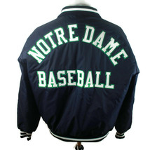 Vintage 90s Notre Dame Fighting Irish NCAA Satin Baseball Jacket DeLong Sz XL - $90.80