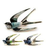 "CUTE SWALLOW PIN 1.9"" Gold Blue Green Teal Enamel Flying Bird Brooch Rhi... - $11.95"