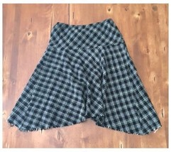 Allison Taylor Black White Plaid Full Skirt Fri... - $7.91
