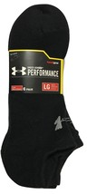 Under Armour Performance 6-Pair Men's Cotton No Show Socks Large Black - $18.99