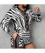 Women Zebra Print Buttoned Shirt & Zipper Short Sets - $67.26+