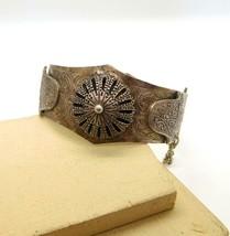 Vintage Silver Middle Eastern Hamsa Camel Mandala Hinged Bangle Bracelet... - $28.89