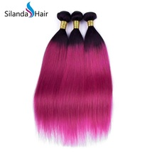 Silanda Hair 3 Bundles #1B/Purple Straight  Remy Human Hair Extensions Weft - $132.90+
