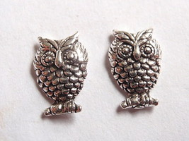 Owls Stud Earrings 925 Sterling Silver Corona Sun Jewelry night bird - $3.95