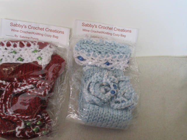 Set of 3- Wine bottle cozy,cover,gift bag with Crochet Trim-D-Free Shipping