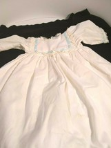 Vintage long white with lace and blue ribbon - $8.33